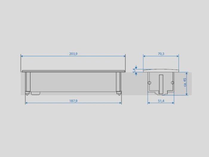 Bloc multipriza KAPSA 2xSchuko + 1x personalizabil 0,2m GST18 4