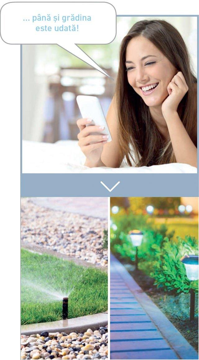 Aprinde luminile exterioare sau uda gradina prin videointerfon